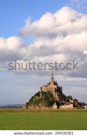 Le Mont-Saint-Michel in the daylight, side view - stock photo