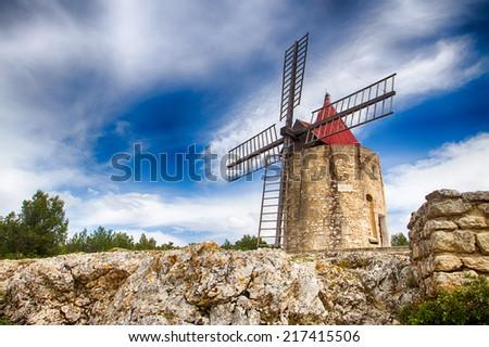 Le Moulin de Daudet in Fontvieille, Provence, France - stock photo