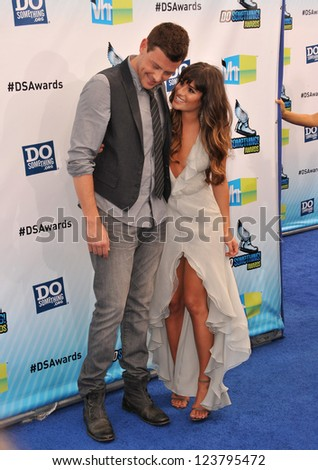 Lea Michele & Cory Monteith at the 2012 Do Something Awards at Barker Hangar. Santa Monica Airport. August 19, 2012  Santa Monica, CA Picture: Paul Smith - stock photo