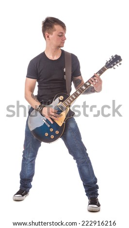 Lead guitarist. Isolated on the white background.