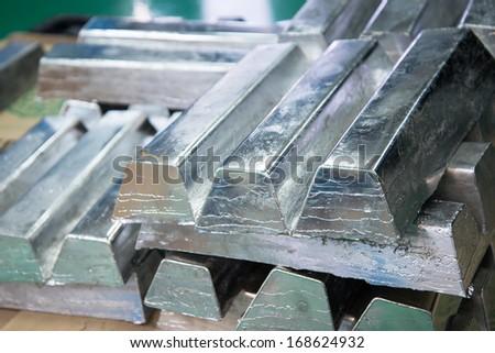 Lead ingots - stock photo