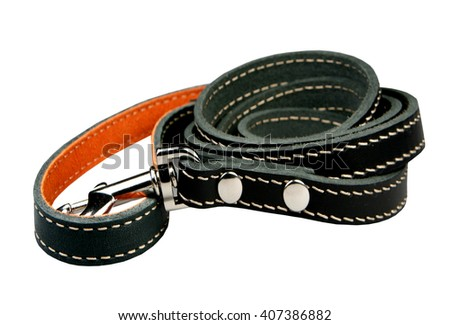 Lead leather for a dog it is isolated on a white background