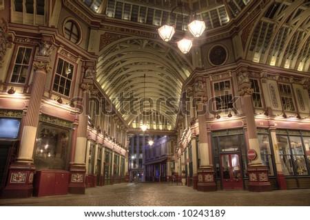 Leadenhall Market at Night Time - stock photo
