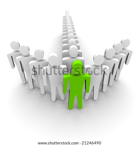 Leader and his team. 3D rendered image. - stock photo