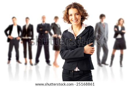 Leader and his team - Young attractive business people - stock photo