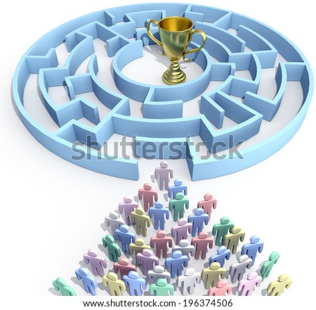 Leader and people start to search maze to find win success trophy solution - stock photo