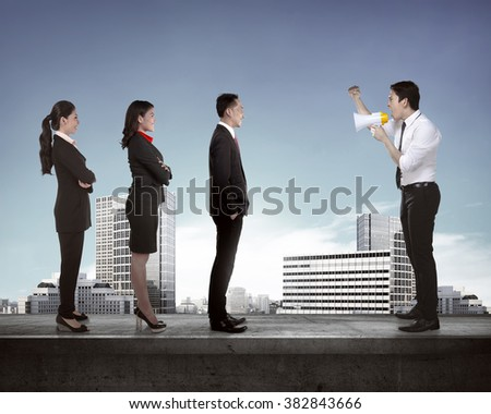 Leader give order via megaphone to his subordinate. Business communication concept