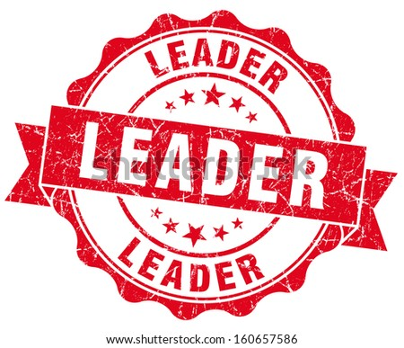 Leader grunge round red seal - stock photo
