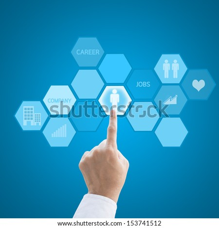 Leader hand working with modern computer interface as career concept - stock photo