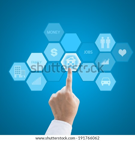 Leader hand working with modern computer interface as property concept - stock photo