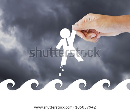 Leader helping a businessman from crisis, leadership concept - stock photo