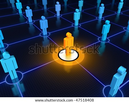 Leader in a networked crowd. - stock photo