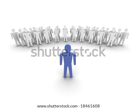 Leader in front of his team. 3d rendered image. - stock photo