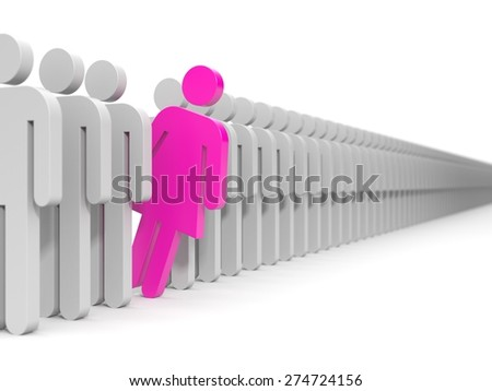 Leader of team. Men and woman - stock photo