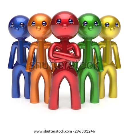 Leader partnership teamwork characters men crowd businessman leadership boss team individuality five cartoon persons icon colorful social relationship friends concept 3d render isolated - stock photo