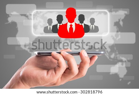 Leader red businessman think of different with smart phone.