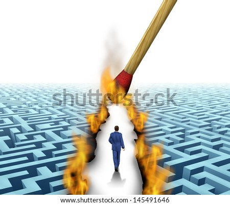 Leader Solutions with a businessman walking through a complicated maze opened up by flames and fire lit by a match as a business concept of innovative thinking for financial success. - stock photo