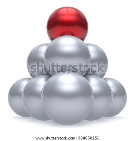 Leader sphere ball pyramid hierarchy corporation red top order leadership element teamwork group business concept shiny sparkling white chrome. 3d render isolated - stock photo