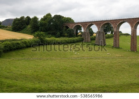 Leaderfoot Viaduct Spanning the River Tweed in the Scottish Borders
