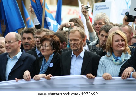 Leaders of Platforma Obywatelska (Citizen's Platform) during October 7th 2006 anti-government protest rally in Warsaw - stock photo