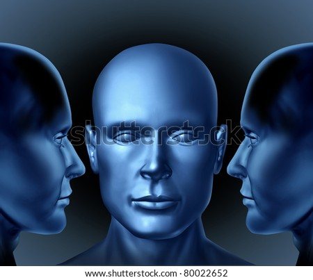 leadership and education represented by three human heads with two men communicating strategies and planning to another business man on a black background. - stock photo
