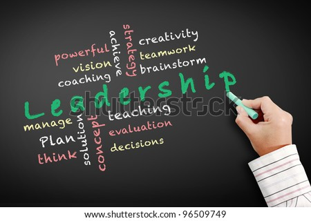 Leadership and other related words, handwritten with green chalk on a blackboard. - stock photo