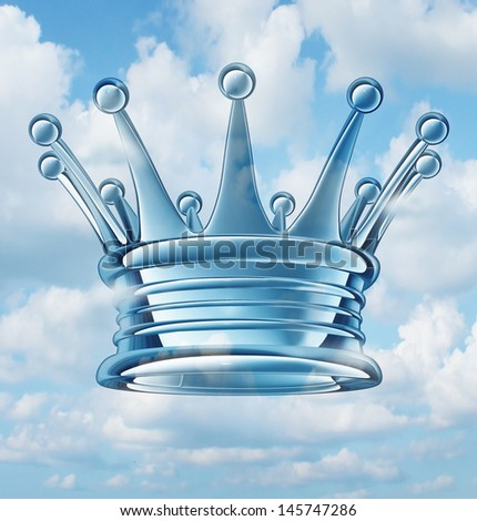 Leadership aspirations business concept as a royal king crown floating in the sky as a success symbol of religion and faith in a leader of ideas and leading visionary of guidance to a faithful group. - stock photo
