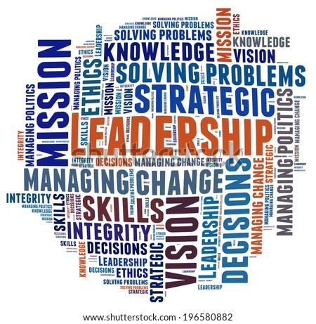Leadership Competencies in word collage - stock photo