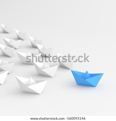 Leadership concept, blue leader boat leading white. 3D rendering.