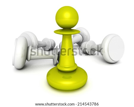 leadership concept green pawn forward white pawns team group. 3d render illustration - stock photo