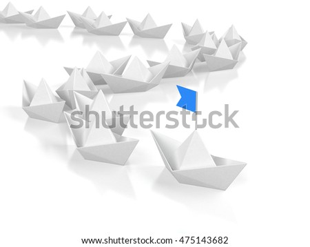 Leadership concept - Leading paper ship with blue flad. 3d illustration