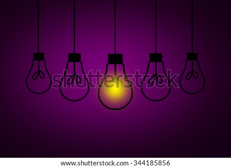 Leadership Concept - One light bulbs with glowing one isolated over purple background - stock photo