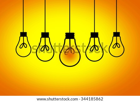 Leadership Concept - One light bulbs with glowing one isolated over yellow background - stock photo