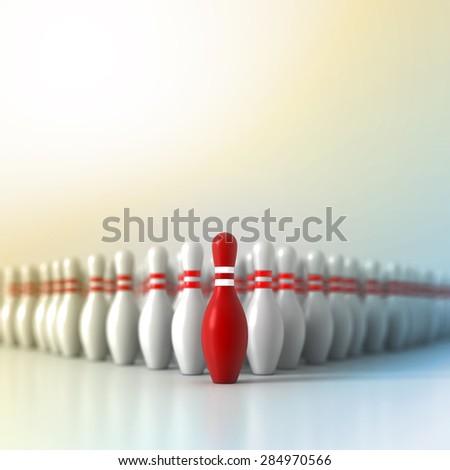 Leadership concept, original three dimensional pins models - stock photo
