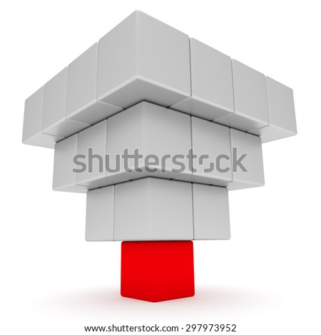 Leadership concept. Pyramid from red and white blocks - stock photo