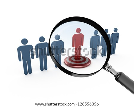 Leadership concept, red social man on target and magnifying glass focusing on it,, isolated on white background. - stock photo