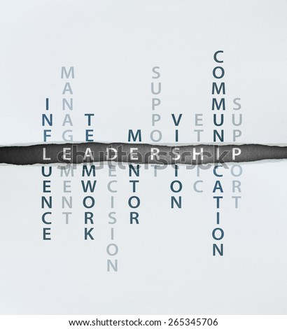 Leadership concept which consists of influence, management, teamwork, decision, mentor,support, vision, ethic,communication and support - stock photo