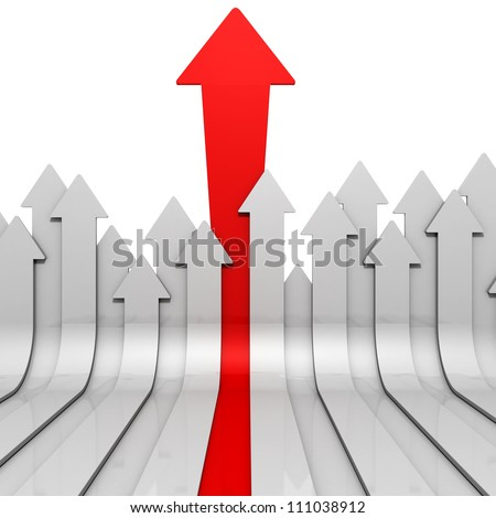leadership concept with big red arrow from gray group - stock photo