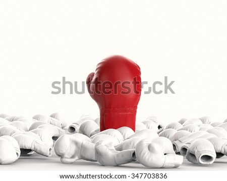 leadership concept with 3d rendered red boxing glove  - stock photo