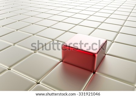 leadership concept with 3d rendered red cubic  - stock photo