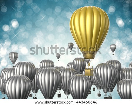 leadership concept with 3d rendering gold hot air balloon - stock photo