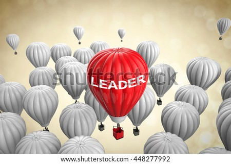 leadership concept with 3d rendering red hot air balloon - stock photo