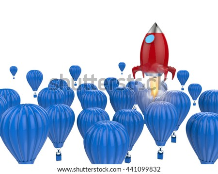leadership concept with 3d rendering red rocket above blue hot air balloons - stock photo