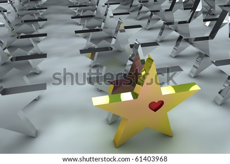 Leadership concept with golden star and many chrome spheres - stock photo