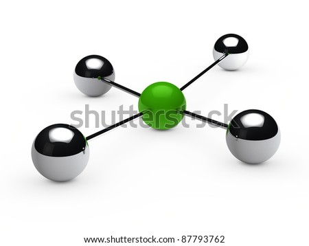 Leadership concept with green sphere and chrome - stock photo