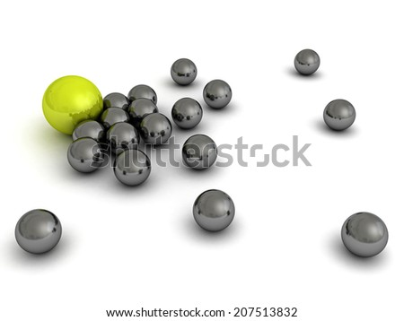 Leadership concept with green sphere and many metallic ones. 3d render illustration - stock photo