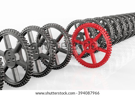 leadership concept with red gear and silver gears - stock photo