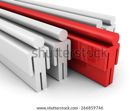 Leadership Concept With Red Leader Of Team Group People Icons. 3d Render Illustration - stock photo