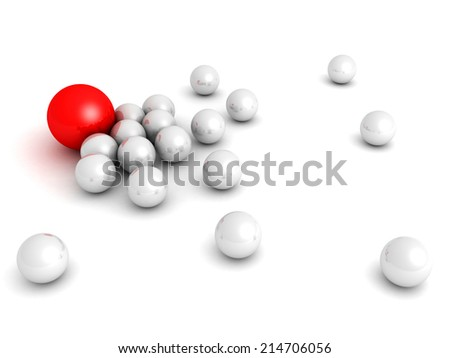 Leadership concept with red sphere and many white ones. 3d render illustration - stock photo