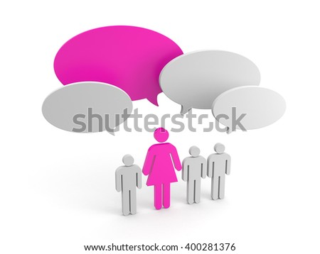 Leadership concept. Women pride. 3d illustration - stock photo